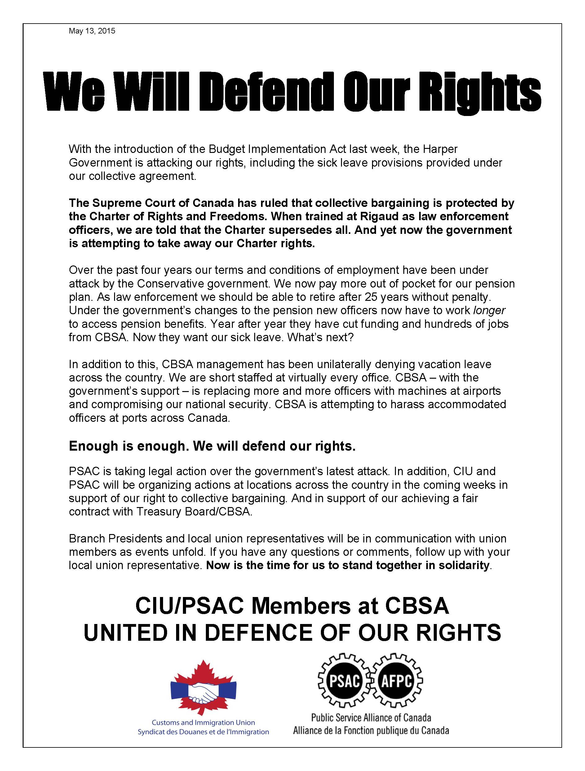We Will Defend Our Rights