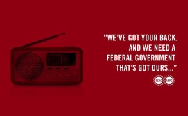 "FB Fair treatment ad: ""we've got your back and we need a federal government that's got ours..."""