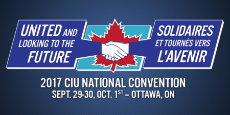"Banner for the 2017 CIU National Convention, which will take place from September 29 to October 1st, 2017, in Ottawa, with the slogan ""united and looking to the future"""