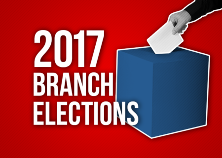 2017 Branch Elections banner, with a picture of a hand putting a ballot in a box