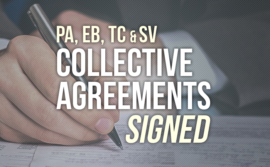 PA EB TC SV collective agreements signed
