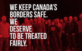 "Picture of a membership meeting stating ""We keep Canada's borders safe. We deserve to be treated fairly"""