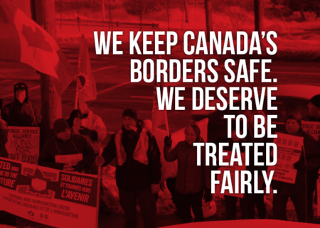 "Picture of a demo in Halifax stating ""We keep Canada's borders safe. We deserve to be treated fairly"""