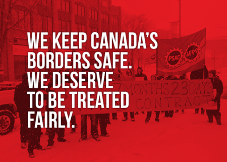 "Picture of a demo in Sault Ste. Marie stating ""We keep Canada's borders safe. We deserve to be treated fairly"""