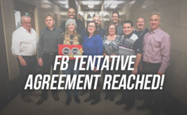 "Picture of the FB Bargaining Team with the words ""tentative agreement reached!"""