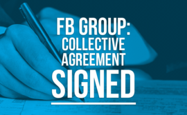 "Stock photo of signature with the words ""FB Group: Collective Agreement Signed"""