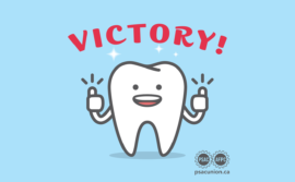 "A cartoon tooth with the word ""victory"" above"