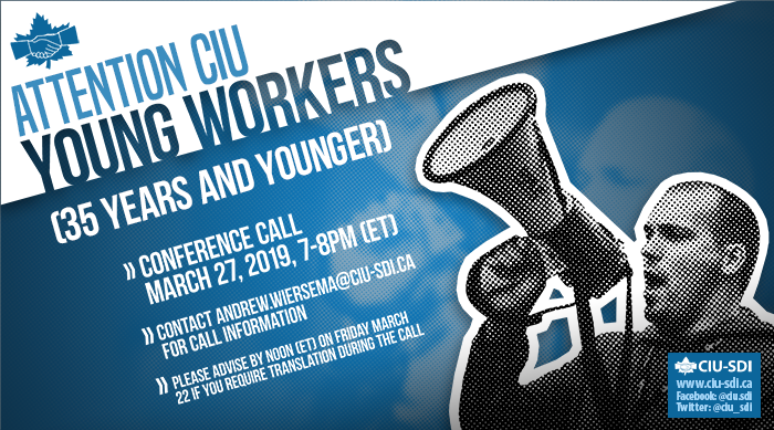 Banner announcing the next CIU Young Workers conference call, on March 27, 2019