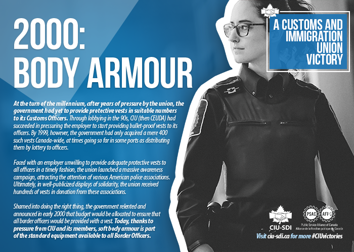 Photo of BSO with text explaining how the union obtained body armour for its members (same text as on page)