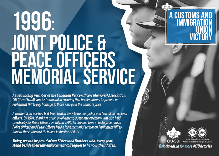 Two border services officers, with text on the creation of the join police and peace officers memorial service