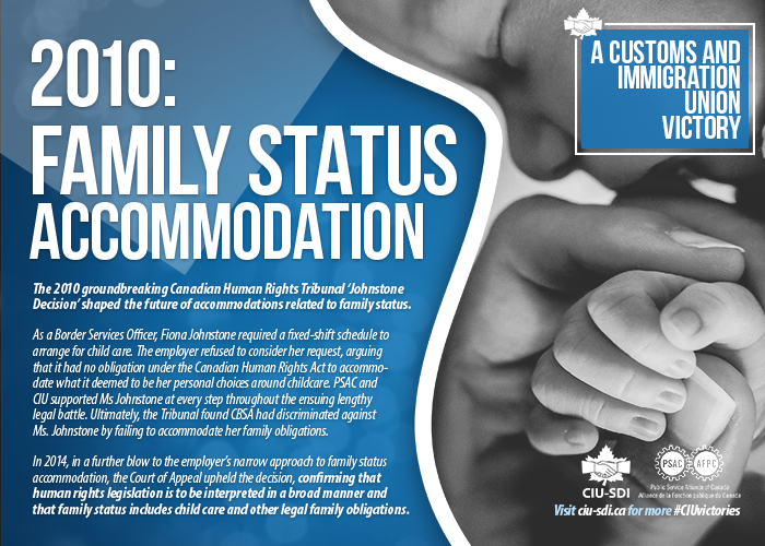 Photo of an infant holding a parent's hand, with text explaining how the union won a victory known as the Johnstone Decision, regarding family status accommodation