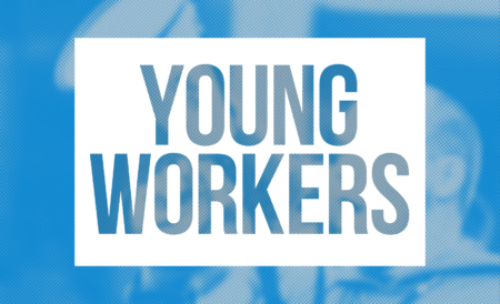 Banner with the words Young Workers
