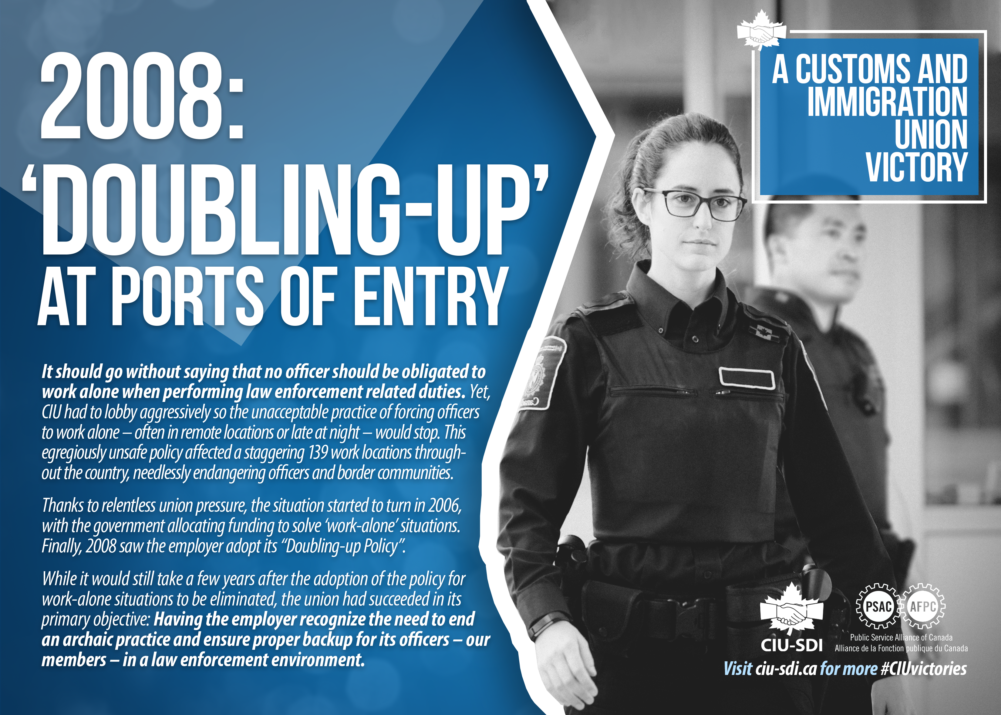 Two border services officers, with a text about CIU's role in achieving the 'doubling-up' of officers at ports of entry