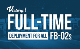 "Border crossing with the words ""victory! full-time deployment for all FB-02s"""