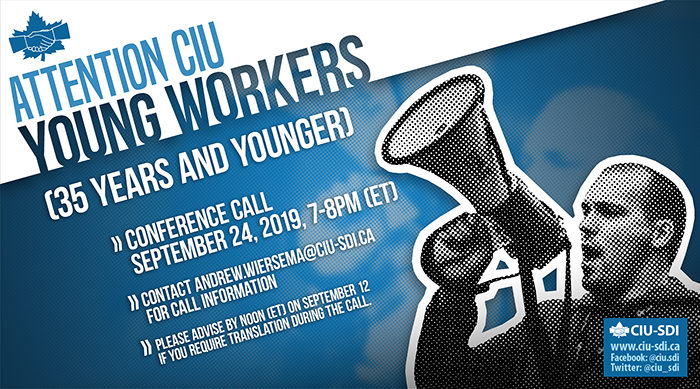 Banner announcing the next CIU Young Workers conference call, on September 24, 2019