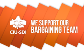 Banner with the words We support our bargaining team