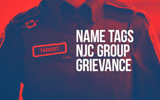 "Photo of BSO with words ""Name tags NJC group grievance"" along with a name tag with the word ""target"" on it"