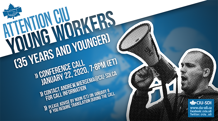 Banner announcing the next CIU Young Workers conference call, on January 22, 2020