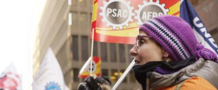 Member with PSAC Flag
