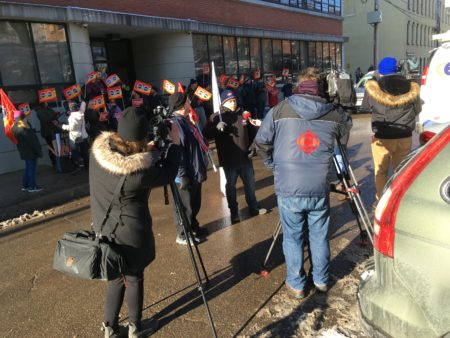 CIU members rallying in Moncton