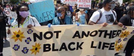 "protest image with the words ""not another black life"""